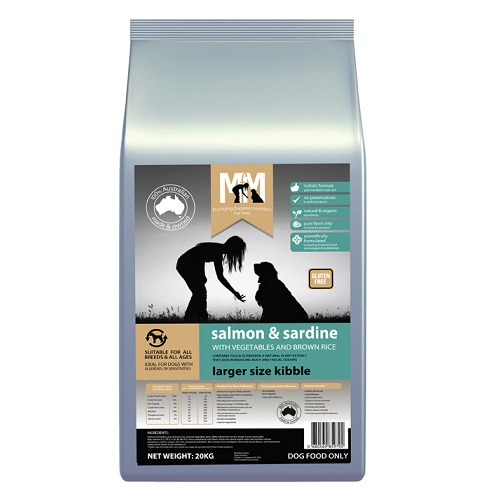 M5179 - MFM SALMON AND SARDINE LARGER SIZE KIBBLE 20KG 500x500 Web - M5183 - MFM GRAIN FREE SALMON AND SARDINE 20KG 500x500 web - Best Dog Food In Australia